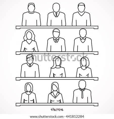 Students sitting at desks in lecture hall taking notes. Icon Isolated on White Background. - stock vector