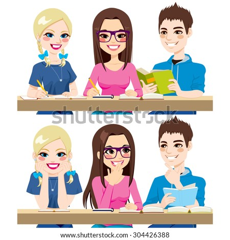 Students studying together working writing notes reading and talking together - stock vector