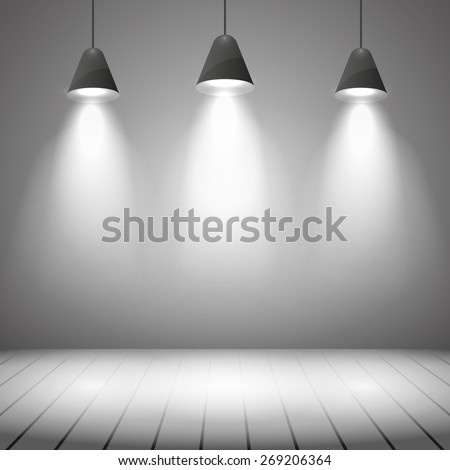 Studio interior with white wall and spot illumination. Projector, realistic clear, highlight and floor, vector illustration - stock vector