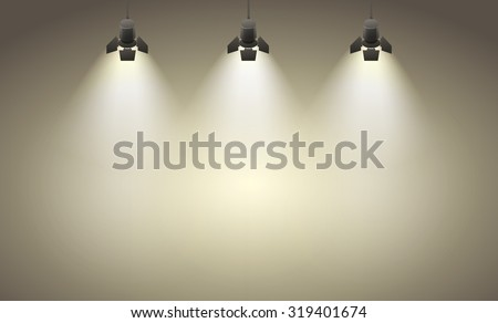 Studio spotlight brown yellow background with lamps - vector EPS 10 illustration - stock vector