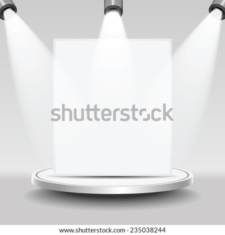 Studio with a podium and spotlights and place for your design - stock vector