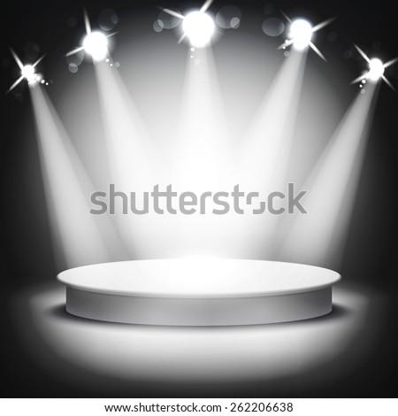 Studio with a podium and spotlights vector grey show light art - stock vector