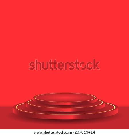 Studio with a red podium and place for your design - stock vector