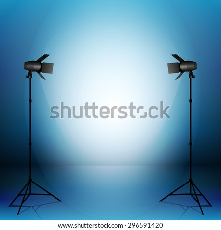 Studio with lights. Vector illustration.