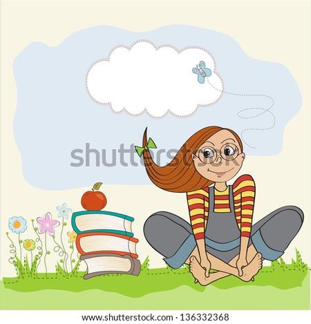studious girl sitting barefoot in the grasss, vector illustration - stock vector