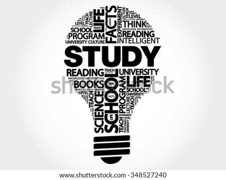 STUDY bulb word cloud, business concept - stock vector