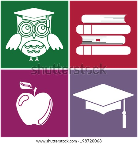 study, owl, student cap, book, apple, set, vector