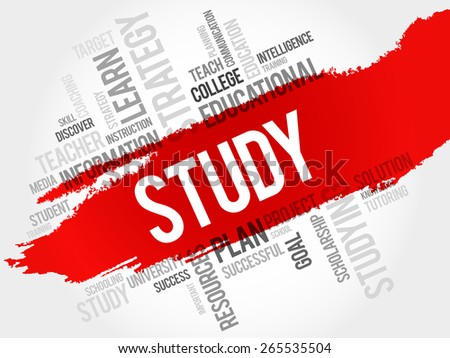 STUDY word cloud, education concept - stock vector