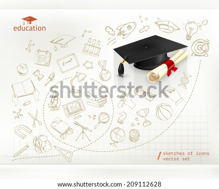 Studying and education, infographics vector - stock vector