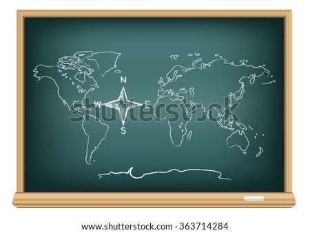 Studying geography map. Drawing world and compass wind rose on education blackboard on a white background. The arrows directions shows North South East West - stock vector
