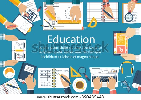 Studying group of students at the table. Students brainstorm. Learning process. Concept education. Vector illustration flat design style. University students, school at the desk. - stock vector