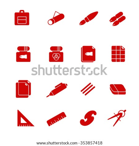 Stuff for drafting as glyph icons / There are some types of paper and devices for drafting - stock vector