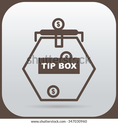 Stuffing coins into the tip box glass. - stock vector