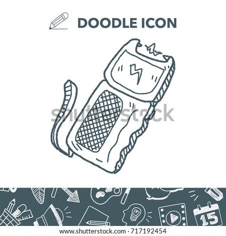 stun gun doodle - Taser Gun Cartoon Coloring Pages