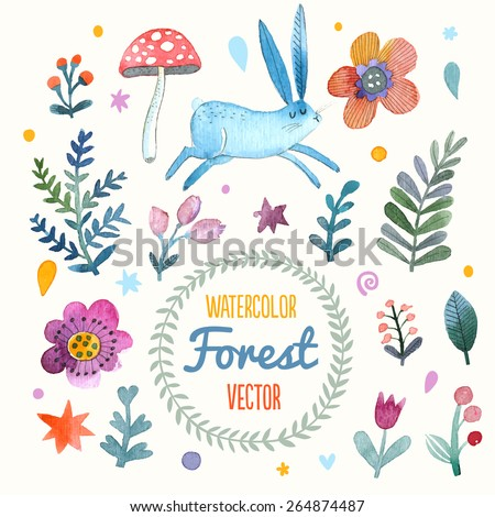 Stunning card with cute Rabbit, flowers, leafs and mushroom in awesome colors. Lovely forest theme set made in watercolor technique. Bright summer concept card with text in vector