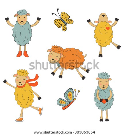Stunning collection of hand drawn sheeps - stock vector
