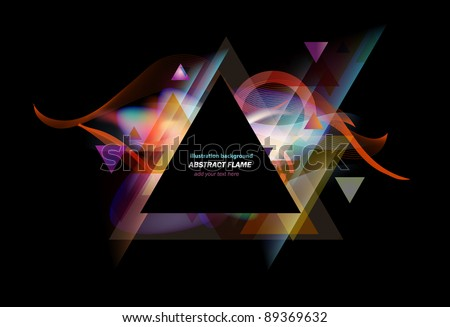 Stunning lights and flames mixed with triangle elements background - stock vector
