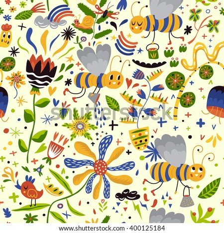 Stunning seamless pattern with cute bees and flowers. Colorful funny background in vector - stock vector