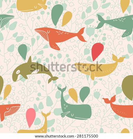 Stunning seamless pattern with cute whales in vintage colors. Sweet underwater concept background in vector - stock vector