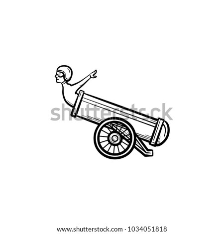Stuntman in the cannon hand drawn outline doodle icon. Circus trick with stuntman and cannon vector sketch illustration for print, web, mobile and infographics isolated on white background.