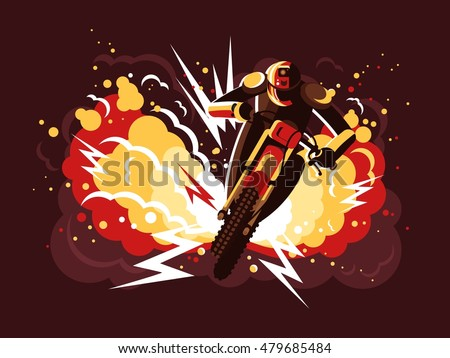 Stuntman on motorcycle
