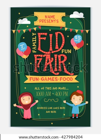 Styish Eid Fair Flyer, Eid Celebration Banner, Invitation Card with cute Islamic kids. - stock vector