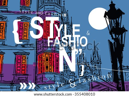 STYLE and FASHION word cloud concept at a background of Prague. Vector illustration - stock vector