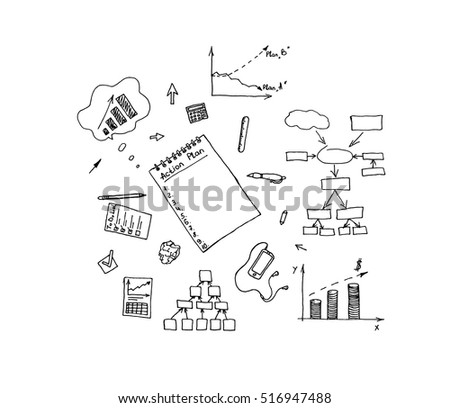 Style concept of effective businessman who plans and organizes working time, deals deadlines, achieves goals. Modern line style illustration for web banners, printed materials