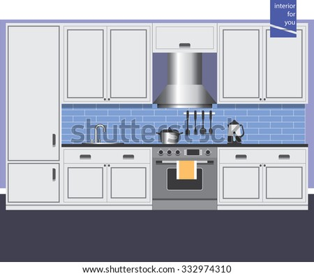 Style design kitchen interior for web