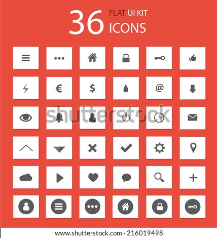 Style flat icons set for webdesign or mobile application / Flat icons set for trendy webdesign  - stock vector