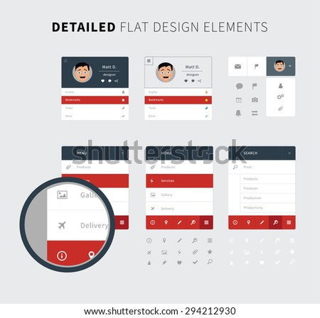 Style flat ui kit design elements set for web design. Flat icons with menu, search bar, social bar in red color. Every element for webdesign and mobile design. - stock vector