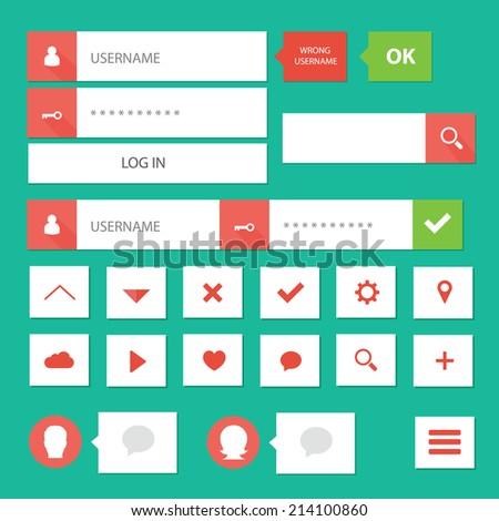 Style flat ui kit design login bar for flat web design with icons / Flat ui kit simple login bar design - stock vector
