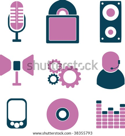 style music icons. vector - stock vector