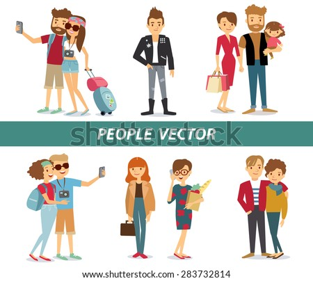 style people and couples vector at the simple style - stock vector