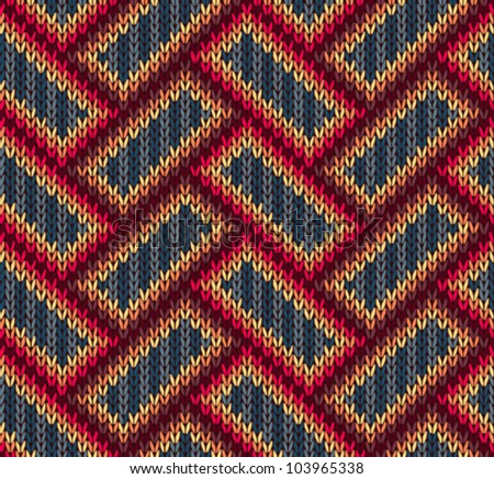 Style Seamless Brown Red Blue Yellow Color Knitted  Ornament Pattern - stock vector