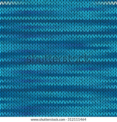 Style Seamless Knitted Melange Pattern. Blue Color Vector Illustration - stock vector