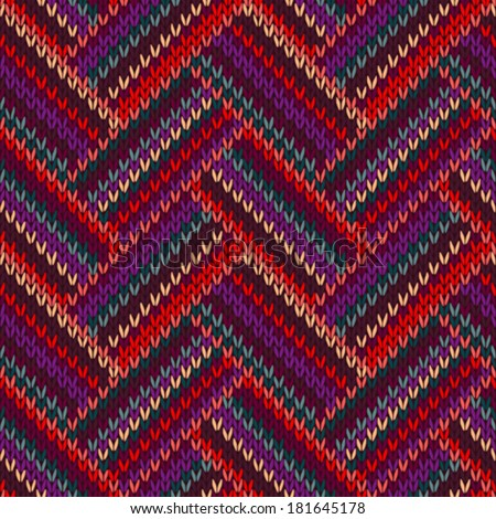 Style Seamless Knitted Pattern. Complex Geometric Striped Red Blue Brown Violet Orange Yellow Color Swatch - stock vector