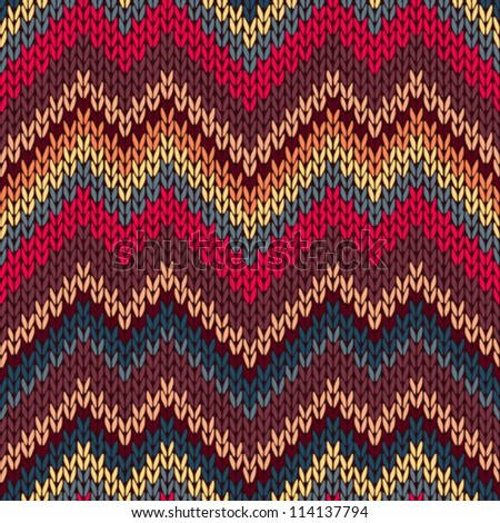 Style Seamless Knitted Pattern. Red Blue Brown Yellow Orange Color Illustration from my large Collection of Samples of knitted Fabrics - stock vector