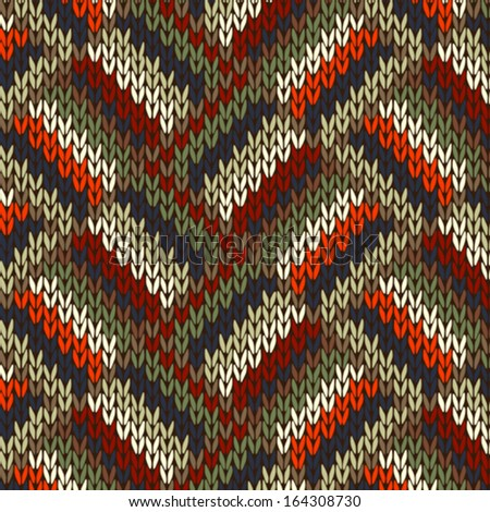 Style Seamless Knitted Pattern. Red Blue Green White Orange Color Illustration from my large Collection of Samples of knitted Fabrics