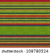 Style Seamless Red Green Yellow Color Vector Knitted Pattern - stock vector