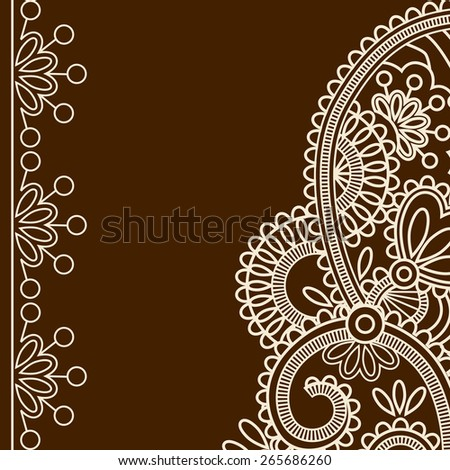Style traditional Indian mehndi patterns. Lace frame. - stock vector