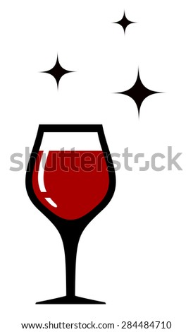 style wine glass icon for restaurant wine card - stock vector