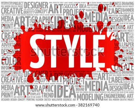 STYLE word cloud, creative business concept background - stock vector