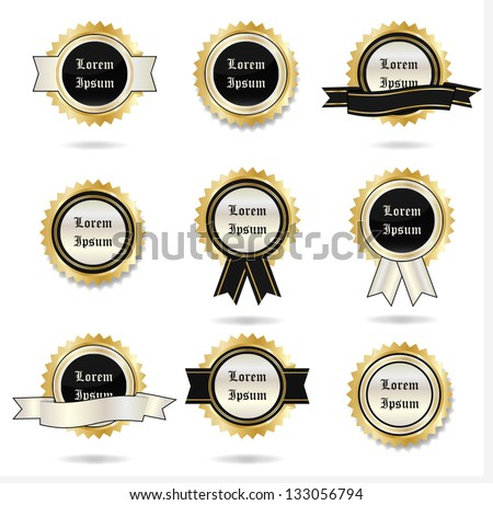 Styled Label - Collection - Isolated On White Background, Vector Illustration, Graphic Design Editable For Your Design. Logo Symbols - stock vector