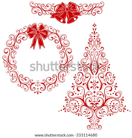 Styled set of Christmas decorations. Vector illustration of Christmas decorations. It contains stylized christmas tree, wreath, christmas bells.