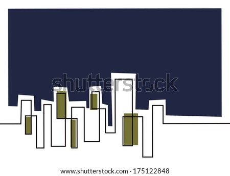 stylised line work of a city sky line - stock vector