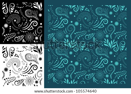 Stylised Maori Koru Seamless Pattern - Easy to change color