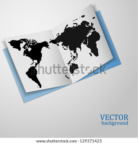 Stylish abstract background. Paper world map. Vector illustration.