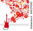 stylish abstract background with a red electric guitar - stock vector