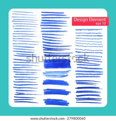 stylish abstract brush marker, set. Vector illustration  - stock vector